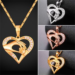 Wholesale Gold Mom Necklace - U7 Jewelry Mom Baby Hand in Hand Pendant Necklace Hollow Design Gold Platinum Rose Gold Plated Jewelry Lover Perfect Gift For Mom P2595