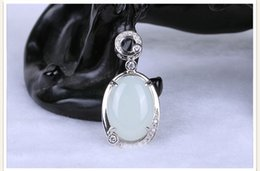 Wholesale S925 Jade Pendant - Natural and nephrite s925 silver inlay silver inlaid jade female models pendants