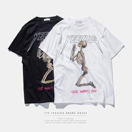 Wholesale Skull Shirts Mens - kanye west clothing Yeezus printed cotton mens tshirt streetwear Skull white black red letters hip hop t-shirt t shirt tee S-XL