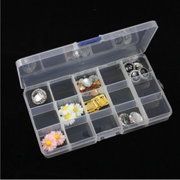 Wholesale Tiny Plastic Containers - 500pcs lot Adjustable Compact 15 Grids Compartment Plastic Tool Container Storage Box Case Jewelry Earring Tiny Stuff Boxes Containers