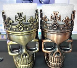 Wholesale Grinder Spices - Tobacco Grinder Skeleton Skull Design Novelty Metal Spice Grinder Pollen Crusher 3 Layers for Dry Herb Electronic Cigarette Kit