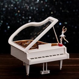 Wholesale Melody Case - 12pcs lot Fashionable Piano Design Music Box Soft Melody Musical Cases With Ballet Dancer Home Table Decoratioin sw308