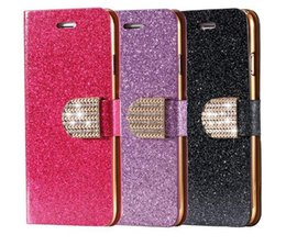 Wholesale Diamond Wallet 4s - Samsung Galaxy S4 5 6 Edge Note 3 4 5 Glitter Bling Sand Leather Case Iphone 4S 5S 6S Plus Wallet Stand Card Holder Rhinestone Diamond Cover