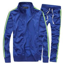 Wholesale Sportwear Set - Newest design free shipping men sport tracksuit leisure slim fit sportwear solid color blue black white set hoodies suit free shipping