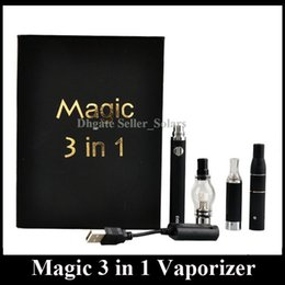 Wholesale Wholesale Ems - Magic 3 in 1 Vaporizer 650mAh Dry Herb Wax E Fluid Vaping Starter Kit Various Colors E Cigarette Starter Kit DHL EMS Free