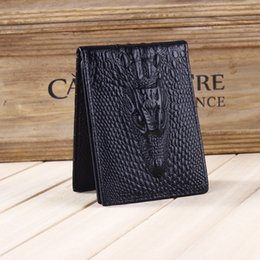 Wholesale Leather Card Holder Pattern - Men's Genuine Leather Driving license holder crocodile pattern solid colors card holder wallet wholesale price free shipping