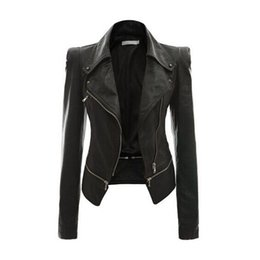 Wholesale Womens Leather Coat Xl - S5Q Womens Slim Handsome Casual PU Soft Leather Zipper Long Sleeve Jacket Coat AAAFTF