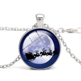 Wholesale Santa Claus Plates - Luminous Christmas Pendant Necklaces Santa Claus with Elk Car Glass Cabochon Blue Light in the Dark gifts Necklace Jewelry