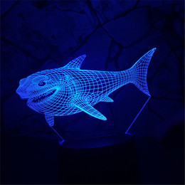 Wholesale Friends Decor - 3D Shark Kid Night Animal Optical Illusion Table Light Lamp Touch 7 Color Nursery Home Light Party Decor Friend&Holiday Gift
