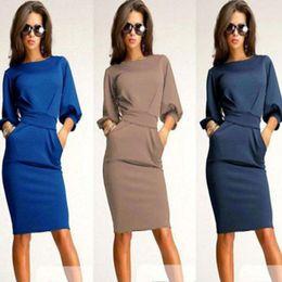 fe0e7df3e9f8 3 Colors Roupas Femininas 2015 New Womens Half Sleeve Female Work Wear  Clothing Knee-Length Sheath Casual Office Slim Dresses