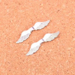 Wholesale Metal Charms Pendants Wings - 154pcs Antique silver Charms angel wings bead Pendant Fit Bracelets Necklace DIY Metal Jewelry Making 8*36mm