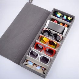 Wholesale Cloth Covered Storage Boxes - 8 Slots Durable Oxford Cloth Eyeglasses Sunglasses Glasses Storage Box Bag Eyewear Display Stand Case Holder Organizer Cover