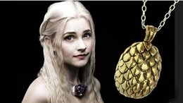 Wholesale Pineapple Games - vintage gold plated punk alloy Game of Thrones necklace Dinosaur Dragon egg pendant girl pineapple necklace women 2017 Hot x118