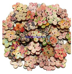 Wholesale Clothing Patterns Sewing - New 100 Pcs Mixed Patterns Wooden Buttons Flower Sewing Button 2 Holes Scrapbooking Craft Clothes Decorations