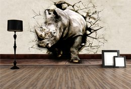 Wholesale Large Lion - Cool 3D Large View Rhino Kung Fu Panda Elephant Lion Dolphin Wall Stickers Art Mural Decal Cartoon Wallpaper Bedroom Hallway Children Home