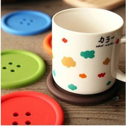 Wholesale Button Design Cup - Free shipping 20PCS Sweet Candy Colors Button Design Coffee Cup PAD MAT Round Protective Tea Coffee Cup Coaster Cup Mat Pad -