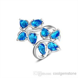 Wholesale Mixed Silver Jewerly - new brand 925 Sterling Silver wedding jewerly Blue topaz gemstone lovers rings fashion austrian crystal wedding rings for women R0642