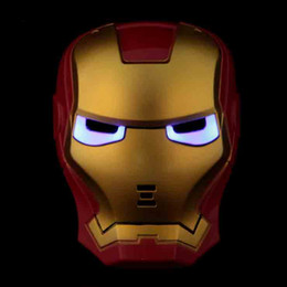 Wholesale Toys Full Men - Iron Man Kids Performance Mask with Light Full Face PVC Cartoon Anime Luminous Film Mask Children Toys Cosplay Party Supplies 10pcs SD328