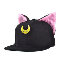 Wholesale Korea Snapback - Wholesale-2015 Korea cartoon cute Sailor Moon Luna hip-hop baseball hat flat -brimmed cap fashion brand snapback for women and men