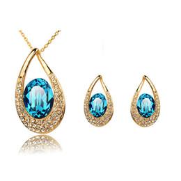 Wholesale Vintage Austrian Crystal Necklace - Austrian Crystal Necklace Earrings Set Necklaces and Earring Set for Wedding Vintage Womens Rhinestone Jewelry 1319