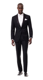 Wholesale White Italian Suits - Wholesale-Real Picture Charcoal Groom Tuxedos One Button Groomsman Men Business Suit Prom Wedding Italian Suits For Men (Jacket+Pants)