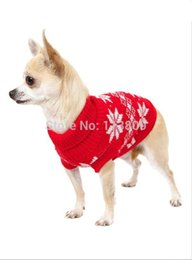 Wholesale Snowflake Jumper - Wholesale-Retail Wholesale New Dog Sweater Pet Jumper Classic Red Blue Snowflake clothes Dog Jumper For Small Dogs Sz XS S M L XL XXL