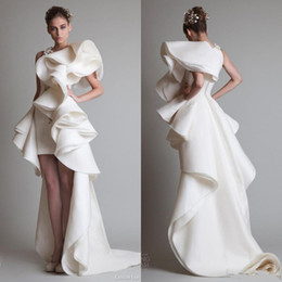 Wholesale silk gowns - Super Fabulous Krikor Jabotian Luxury Ruffles High Low Silk Like Satin Evening Dresses Zipper Back Court Train 2017 Custom Made Women Gowns
