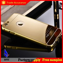 Wholesale Metal Bumper Iphone5 - Aluminum metal bumper frame case with mirror Back cover Backplane Dustproof Shockproof Protective Cover for iphone5 6 6 plus