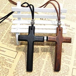 Wholesale Handmade Tibetan Beads Wholesale - Xmas gifts wooden cross pendant necklace vintage Tibetan silver beads leather cord sweater chain men women jewelry handmade stylish 12pcs