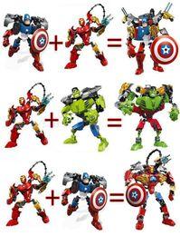 Wholesale Children Hero - New the Avengers super hero building blocks assembly robot building block Superhero Captain America Hulk Children educational diy toys