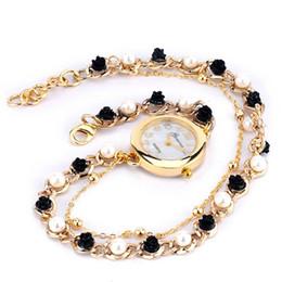 Wholesale Geneva Charms Watch - New Arrival Women's Geneva Luxury Faux Pearl Flower Bracelet Quartz Analog Dress Wrist Watch luxury charm bracelet watches