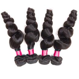 """Wholesale Virgin 4pcs Mix - 8A Unprocessed Virgin Hair Brazilian Loose Wave 4Pcs Hair Weave 8""""-26"""" Mix Length Human Hair Weave Brazilian Loose Wave Bundles Black"""