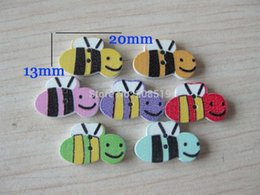 Wholesale Scrapbooking For Baby - WB0147 bulk sewing buttons for baby 100pcs mixed 2 holes wood animal button Bee shaped scrapbooking
