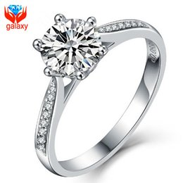 Wholesale Round Cut Diamond Engagement Rings - Classic Round Cut 1.5ct Hearts and Arrows Swiss CZ Diamond Wedding Rings for Women 925 Sterling Silver Fine Jewelry Engagement Ring ZRZ02