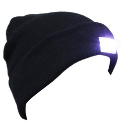 Wholesale Flash Beanies - Free DHL Black Beanie LED Glowing Knitted Caps with 5 Led Flash Light Novelty Led Hat for Hunting Camping Grilling Jogging Walking