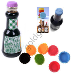 Wholesale Bottle Seals - Lids silicone bottle cap sealing plug wine corks seasoning Cap silicone beer bottle beer covers Savers