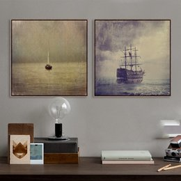 Wholesale Boats Canvas Wall Arts - Vintage Retro Ancient Classic Boat Ship Photo A4 Art Prints Poster Shabby Chic Wall Picture Canvas Painting No Framed Home Decor