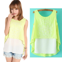 Wholesale Two Piece Casual Chiffon Top - Top Selling Fashion sleeveless Fake two-piece Chiffon Blouses For Women Casual irregular Summer Patchwork Shirts Tops Vests Tanks