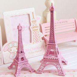 Wholesale Unique Centerpieces - 25cm 10 inch pink Paris Eiffel Tower model Metal Art Crafts Unique Decor Wedding centerpieces table centerpiece
