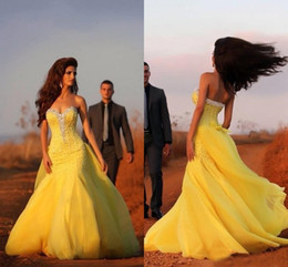 Wholesale Watteau Train Wedding - Yellow Mermaid Wedding Dresses 2015 Sweetheart Sequins Beads Watteau Sweep Train Organza Bridal Dress Ruffles Beach Cheap Wedding Dress