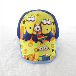 Wholesale Minion Hats Kids - kids caps children hats boys hats 3D Hip hop cartoon Minions Peaked cap Baseball cap 2017 new fashion cotton wholesale free shipping