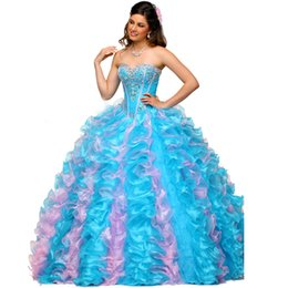 Wholesale Two Color Corset - Gorgeous Muti Color Prom Dresses Ball Gown Quinceanera Dresses 2016 Crystal Corset Lace up Tiered Ruffle Blue Prom Gowns Pageant Dresses
