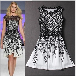 Wholesale Ladies Rhinestone Shirts - Womens clothing ladies fitted slim lace Embroidery leaf print plus big size S-XXXL dress Formal Prom Cocktail Ball Evening Party Dress 9608