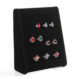 Wholesale Earring Dispaly - Black Velvet Tripod Showcase Jewelry Dispaly Stand Rings earrings show board Ring Holder rack storage stands