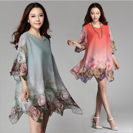 Wholesale Knee Length Dress For Pregnant - 1PC Clothes For Pregnant Women Maternity Dresses Fashion Flower Plus Size Chiffon Dress in stock dongguan_wholesale New ZZ3066