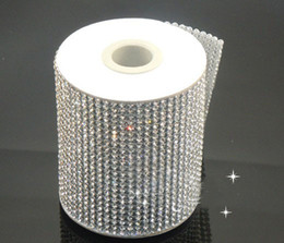 Wholesale Sew Crystal Glass - Factory directly sale! 24Row hotfix clear rhinestone cover skin Cloth Appliques 120cmX7.6cmfor handmade diy sewing accessories