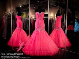 Wholesale Rhinestone Shoulder Strap Pieces - Charming Fuchsia Prom Dresses Sparkly Rhinestones Evening Formal Gowns 2015 Occasion Dress Mermaid Sweetheart Pleated Crystal Beaded Party