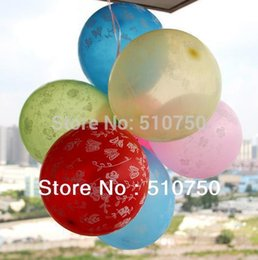 Wholesale Heart Print Balloons - Wholesale-100pcs lot 12' Inch printing Latex Balloons butterfly flower heart Printed balloon Celebration Birthday Party
