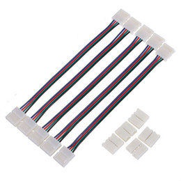Wholesale Led Light Strip Pvc - 4Pin 10mm Female DIY PVC Connector RGB LED PCB Strip Connector Adapter For 5050 3528 SMD LED Light Free Shipping