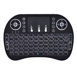 Mini Rii i8 Teclado inalámbrico 2.4G Air Mouse Control remoto Panel táctil Retroiluminación Retroiluminada para Smart Android TV Box Tablet Pc Inglés 150 unids desde fabricantes